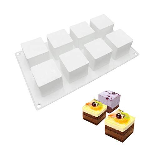 Aomili Dessert DIY ,DIY Silikonform for Mousse, Schokolade Keks Gelee Mini-Cupcake,8 Löcher in einer Kuchenform,Größe: 29,3 x 17 cm (Weiß)