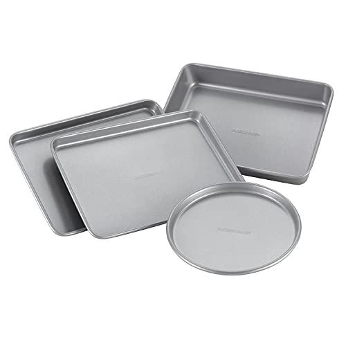Farberware Bakeware Steel Nonstick Toaster Oven Pan Set, 4-Piece Baking Set, Gray