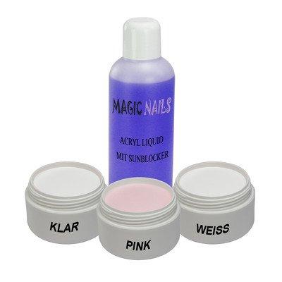 Magic Items, set per unghie in acrilico con 3 polveri: trasparente, rosa, bianca, con 100 ml di liquido
