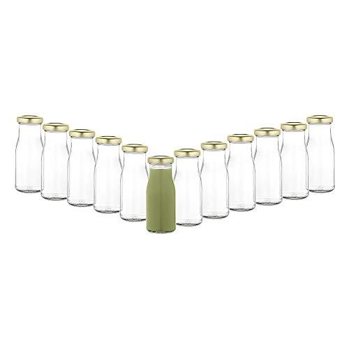 MamboCat 12er Set Saftflaschen 156ml + Twist-Off Deckel TO43 gold I Leere Flaschen zum Befüllen I Weithalsflasche zum Einkochen I Einmachflaschen Milchflaschen I Runde Glasflaschen luftdicht