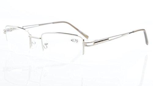 Eyekepper Rechteck Metall Halbrand Federscharnier Computer-Brillen Lesebrillen Silber +1.0