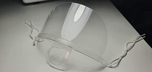 Mascherina Trasparente in PVC Antidroplet, Unisex, Uomo, Donna, Antisputo, Antisaliva, Visiera da Mento Trasparente Copre Naso e Bocca, NO DPI. Confezione da 10 Pezzi