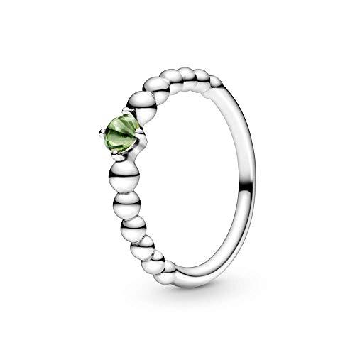Pandora Anillo solitario para mujer, plata de ley 925, talla 52, color verde