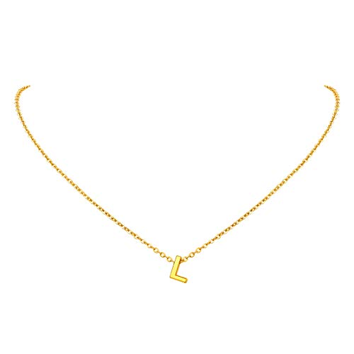FindChic Small Letter l Necklace Gold Plated Initial Necklace Jewellery for Womens Girl Stainless Steel Monogram Alphabet Pendant Necklace