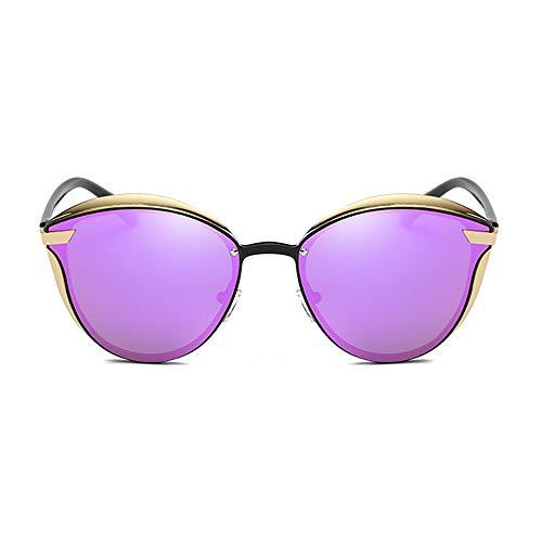 DKee Gafas de sol polarizadas de metal con marco redondo para mujer, color morado, protección UV400