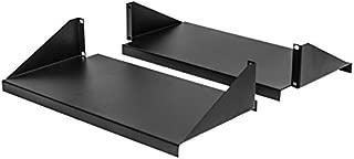 NavePoint Cantilever Server Shelf Rack Mount 19 Inch 2U Black 2 Piece Set Center Weighted