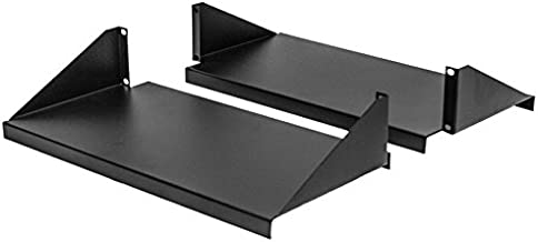 NavePoint Cantilever Server Shelf Rack Mount 19 Inch 2U Black 2 Piece Set Center Weighted