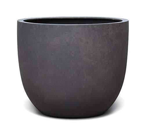 VAPLANTO® Pflanzkübel Egg Pot 40 Espresso Anthrazit Rund * 36 x 36 x 31 cm * Manufaktur Qualität * 10 Jahre Garantie