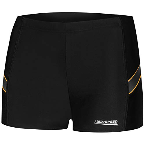 Aqua Speed eng anliegende Badehose für Männer | Wettkampf Schwimmhose Jungen | Schwimmen Trunks schwarz I Swim Pants I Training | UV-Schutz | Sport I Wiliam, Gr. M, 133/Black Grey orange