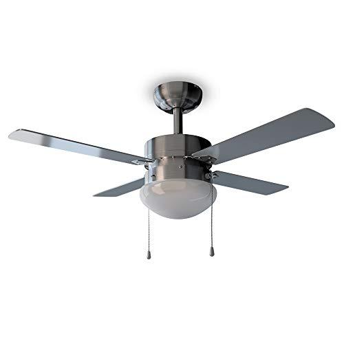 Cecotec Ventilador de Techo EnergySilence Aero 450. 50 W, 106 cm de Diámetro, Luz, 4 Aspas Reversibles, 3 Velocidades, Función Invierno, Acabado en gris y blanco