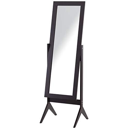 HOMCOM Standspiegel Ganzkörperspiegel Schminkspiegel Erhöhte Füße Pflegeleicht MDF Kaffee 47 x 46 x 148 cm