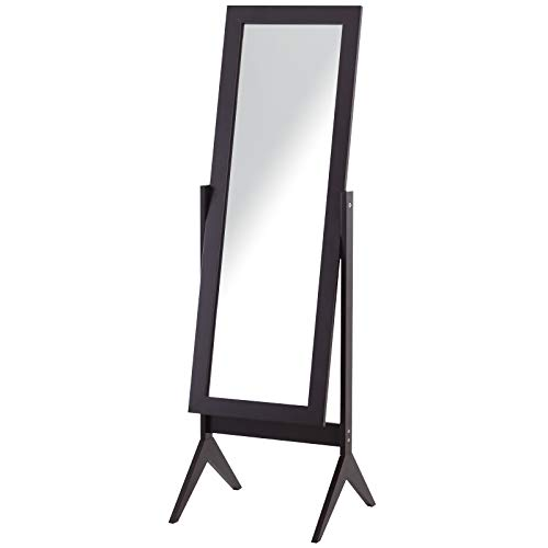 HOMCOM Standspiegel Ganzkörperspiegel Schminkspiegel Erhöhte Füße Pflegeleicht MDF Coffee 47 x 46 x 148 cm