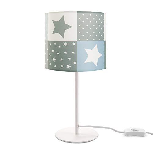 Paco Home Kinderlampe LED Tischlampe Kinderzimmer, Sternen-Motiv, Deko Tischleuchte E14, Lampenfuß:Weiß + Leuchtmittel, Lampenschirm:Blau (Ø18 cm)