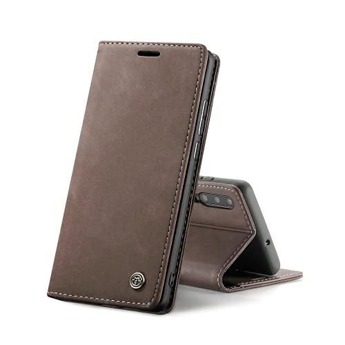 Chocoyi Compatible Funda Samsung Galaxy A70 Flip Leather Edition,magnético, función de Soporte y Ranuras para Tarjetas-marrón
