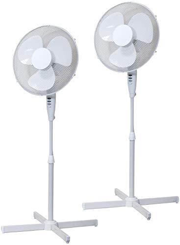 Prem-i-air Coppia di ventole a piedistallo oscillante 40 cm, Colore Bianco con 3 impostazioni di velocità