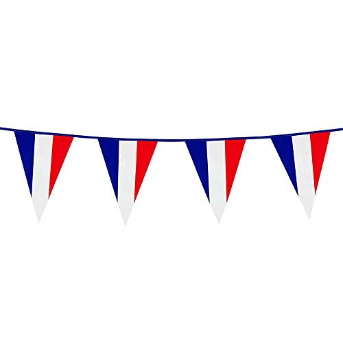 Boland 62039 Wimpelkette Frankreich, 1 Stück, Nationalflagge, Fahnenkette, Kunststoffgirlande, Hängedekoration, Karneval, Mottoparty, Weltmeisterschaft, Europameisterschaft, 10 Meter