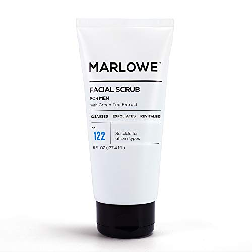 MARLOWE. No. 122 Men's Facial Scrub 6 oz | Light Daily Exfoliating Face Cleanser | Fresh Sandalwood Scent | Made with Natural Ingredients