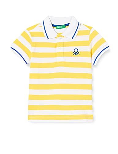 United Colors of Benetton Maglia Polo M/M 3NQ7C3124 Camisa, Rayas Amarillas y Blancas 902, 2 Años para Bebés