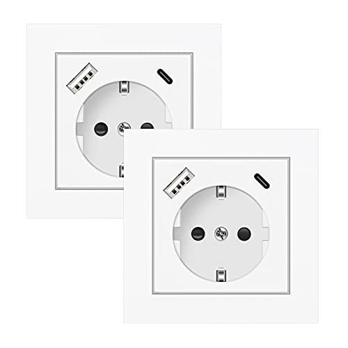 2 X Enchufes de Pared, Altopbum Schuko Enchufe con USB y 1 Tipo C 3.4A Tomas de Corriente para el Smartphone Tableta Cocina Hogar Oficina Hotel, Profundidad de la Base Solo 32mm