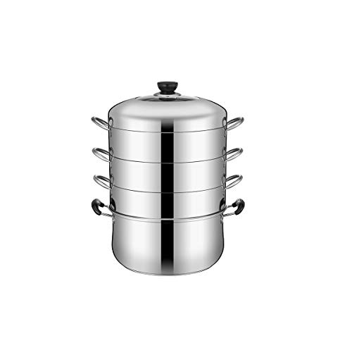Wuhuizhenjingxiaobu Multi-layer Food Steamer, Thick Stainless Steel, Composite Bottom Steamer - 10/11/12/13 / 13.4 Inches, Silver, Best Gift Refinement (Size : 32cm)