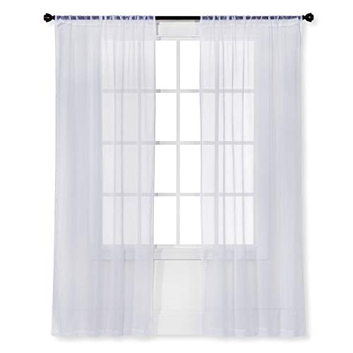 """Room Essentials Sheer Curtain Panel (White Crinkle Voile, 40"""" W x 63"""" L)"""