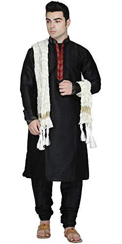 SKAVIJ Mens Tunic Art Silk Kurta Pajama and Scarf Set