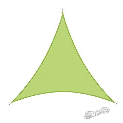 Qdreclod Sonnensegel 2x2x2m Sonnenschutz Garten Balkon Terrasse Party Wasserabweisend Wetterschutz Imprägniert Segel Baldachin 90% UV Schutz Markise mit Freiem Seil Dreieck Grün
