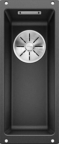 BLANCO SUBLINE 160-U – Schmale Granitspüle für die Küche – für 30 cm breite Unterschränke – Unterbau – aus SILGRANIT – Grau – 523396