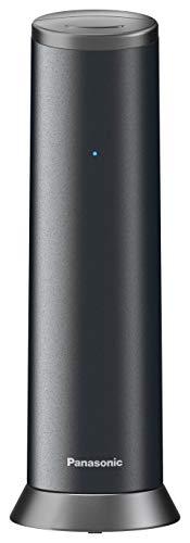 Panasonic KX-TGK220GM Design-Telefon mit Anrufbeantworter & Wecker, Haustelefon (schnurlos), HD-Telefonie, Matt-Schwarz