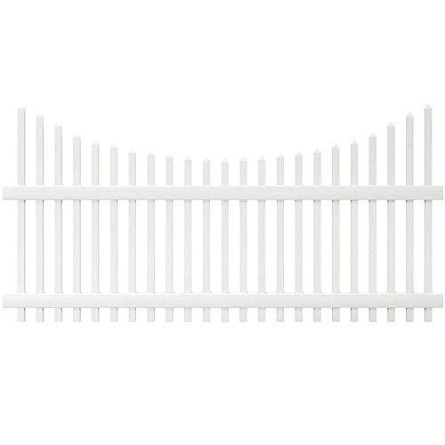 Outdoor Essentials PicketLock Pinehurst White Vinyl Scalloped Spaced Picket Fence Panel