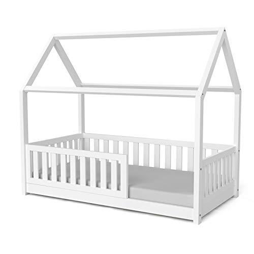 Nature Kid - Hausbett Lilly in Weiß mit Flachsprossen, 90x180 lackiert auf wasserbasis, Kinderbett Spielburg Spielbett Hüttenbett Kojenbett Jugendbett Holz Kinder
