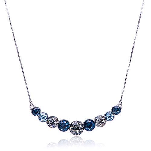 UPSERA Women's Round Crystals from Swarovski 9-Stone Blue Multicolored Graduated Statement Necklace with Silver Tone Plating, 18.7' + 2' Extender