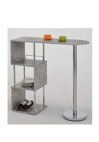 Meubletmoi statafel voor bar, bar, bar, bar, aanrecht, betonlook en metaal – eettafel – plank voor keuken – Milos