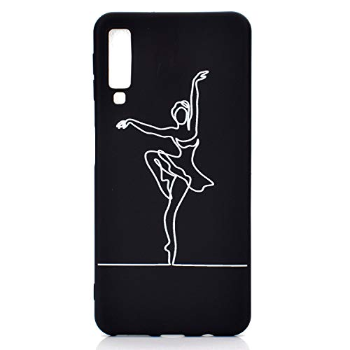 HYcase Case for Samsung Galaxy A7 2018, Ultra Thin Creative Colorful Silicone Gel TPU Pure black Cover Glitter Shockproof Soft Case Protective Case For Samsung Galaxy A7 2018- Ballet girl