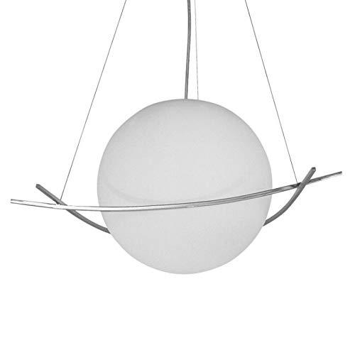 NEG Hängeleuchte GrandePalloni (40,5cm Kugel-Durchmesser) Deckenlampe aus Opalglas und Edelstahl