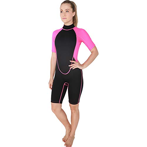 Realon Womens Wetsuit Full 3mm 2mm Neoprene Surfing Scuba Diving Snorkeling Swimming Suit (2mm Pink Shorty, Small)