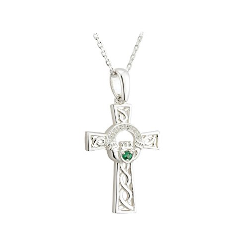 Failte Celtic Cross Necklace Sterling Silver and Green Crystal Made in Ireland