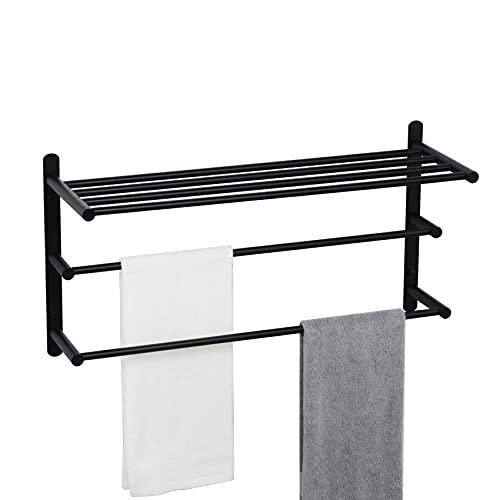 KOKOSIRI Double Towel bar with Shelf 3 Tier Towel...