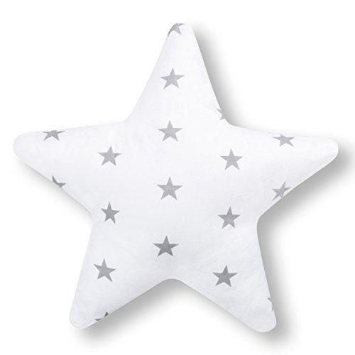 Amilian Kissen Stern Zierkissen ca. 28 cm Kinderzimmer Deko Plüschkissen Sternkissen Baby Kinder Dekokissen mit Füllung für Schlafzimmer Babyzimmer Kinderbett Sternchen Grau auf Weiß