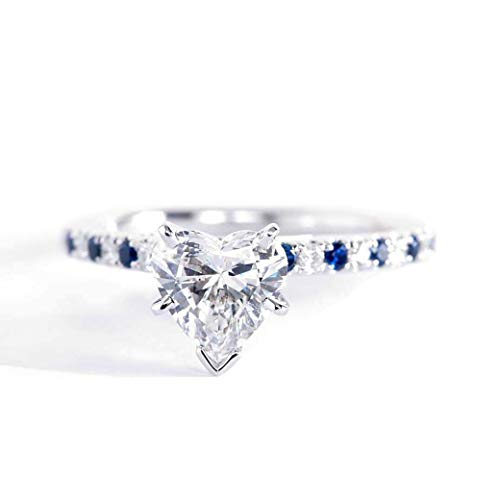 Anillo de compromiso de platino con diamantes de talla corazón de zafiro azul SI2 F de 1,25 quilates