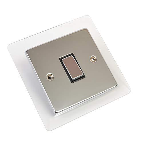 Solo doble enchufe de luz interruptor de zócalo rodeado placa de dedo acrílico (transparente, individual)