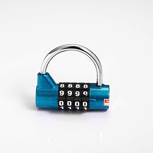 MYW Lucchetto con Password,Lucchetto Garage,armadietto,cassaforte,armadietto,Lucchetto antifurto con Password per Bagagli da Viaggio (Tromba Blu a 4 cifre)