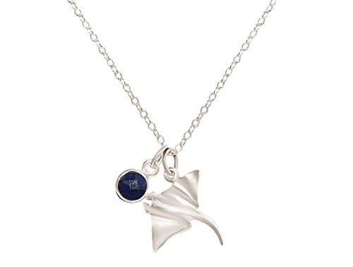Gemshine Maritim Nautics Halskette mit Manta Rochen aus 925 Silber, hochwertig vergoldet oder rose im Navy Stil mit blauem Saphir – Made in Madrid, Spain, Metall Farbe:Silber