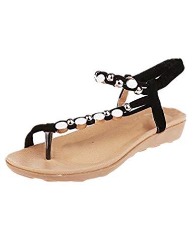TEBAISE Sandalen Damen 2019 Sommer Elegant Böhmen Blumen Flip-Flop Schuhe Flache Sandalen Schuhe Mode Strandschuhe T-Spange Mädchen Zehentrenner Pantoletten Riemchensandalen Wohnungen Sandals