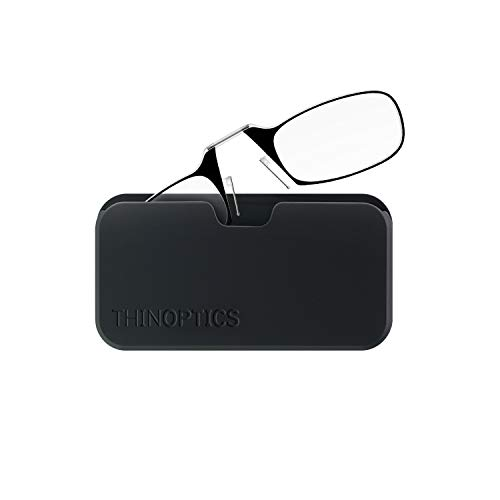 ThinOptics Reading Glasses + Black Universal Pod Case | Black Frame, 2.50 Strength Readers