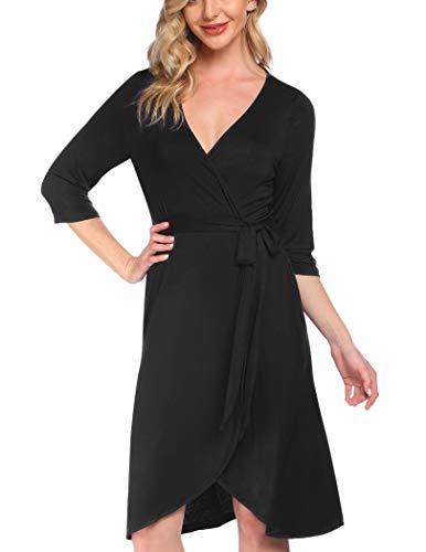 Pinspark Frauen Pflege/Geburt/Krankenhaus Nachthemd Umstandsnachthemd Stillnachthemd Schwangere Stillzeit Kimono Pyjama Schwarz L