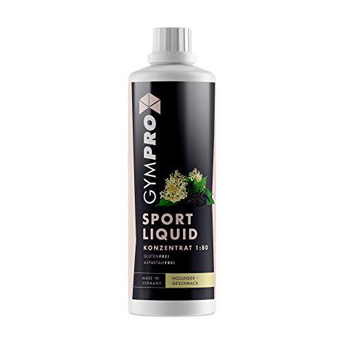 GymPro - Sport Liquid, Fitnessgetränk Konzentrat (1000ml) Lower Carb Drink, Sirup Getränke Konzentrat in Flasche mit L-Carnitin und Vitaminen für Fitness und Sportdrinks (Holunder)