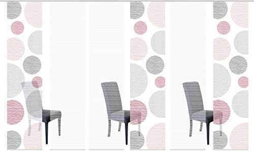 Vision S 96553 | 6er-Set Schiebegardinen Borden | halb-transparenter Stoff in Bambus-Optik | 6X 260x60 cm | Farbe: (rosé)