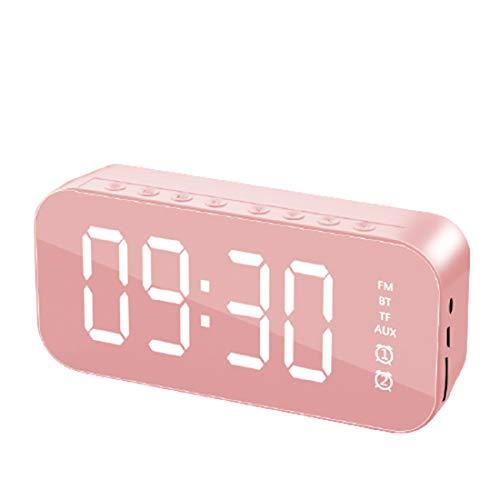 PANYUE Altavoz Bluetooth con reloj despertador, reloj de espejo subwoofer altavoz sonido HiFi y sonido impactante bajo, reloj despertador multifuncional para el hogar oficina dormitorio