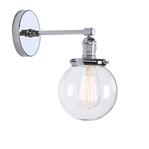 Phansthy innen Modernes runde klarglas Wandbeleuchtung Wandleuchten Vintage Industrie Loft-Wandlampen Antik Deko Design Wandbeleuchtung Küchenwandleuchte im Landhausstil(Chrome Farbe)